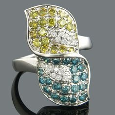 yellow, blue and white diamond leaf ring
