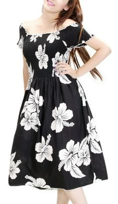 HAWAIIAN BLACK & WHITE FLORAL CAP SLEEVE SUN « Dress Adds Everyday