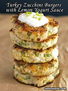 Turkey Zucchini Burgers with Lemon Yogurt Sauce - Super easy to make, naturally GF, and the perfect way to sneak in some veggies!