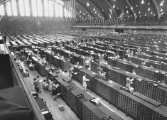 These photos picture the FBI's overflow filing system, housed during World War II in the Washington, D.C. Armory. By the early 1940s, the FBI's archive housed more than 23 million card and 10 million fingerprint records, with 400,000 new cards added each and every month.