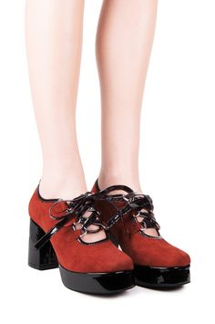 Jeffrey Campbell Shoes BYRON Shop All in Orange Suede Black Patent
