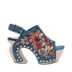 ALEXANDER McQUEEN Flower Vintage Denim Embroidered Clog Spring-Summer 2016 $3,360.00
