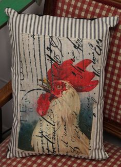 Tall Black Ticking Rooster Pillow - Marmalade Mercantile