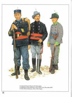 1:Corporal,Francs-Tireurs de Chatcaudun.2:Eclaireurs a Cheval Bretons,Army of the Loire,December 1870.3:Franc-Tireur de Josnac,Army of the Vosges.