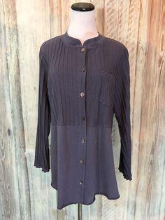 Fenini Art to Wear Tunic Ribbed Pintuck  Charcoal Gray Cotton Button S $99 NWT! #Fenini #Tunic