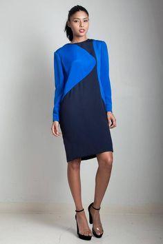 party dress 80s clothing long sleeve dress 80s black and blue color block long sleeve dress knit dress elastic waist 80s vintage dress