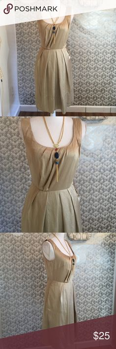 Banana Republic gold modern dress 36 inches in length zipper closure down back fabric 100% silk Banana Republic Dresses