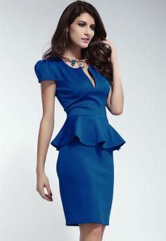 100% Polyester Fashion Sexy Solid Blue U-Neck Short Sleeve Women Ladies Slim Dress