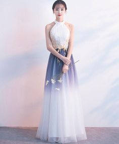 White tulle lace long prom dress, white evening dress M2702