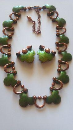 Matisse Necklace Enamel Copper Matisse Earrings Green Matisse Renoir Mid Century Signed Matisse 50s