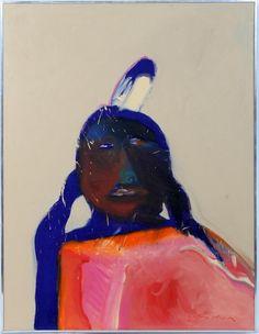 "fritz scholder   081004: FRITZ SCHOLDER OIL ON LINEN, 1975, 40"" X 30"", : Lot 81004"