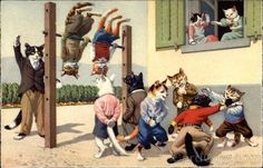 Cats playing in the Schoolyard Alfred Mainzer (Eugen Hurtong). It's just how things are.