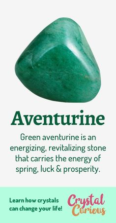 Aventurine Meaning Healing Properties Green aventurine is a variety of quartz with a subtle shimmer It is a stone of luck and pluck helping you make the best of challeng. Crystal Healing Stones, Crystal Magic, Reiki Stones, Crystals And Gemstones, Stones And Crystals, Crystals For Luck, Green Gemstones, Gem Stones, Crystals Minerals