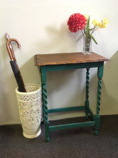 shabby chic hallway table Now Sold Shabby Chic Hallway, Foyer, Entryway Tables, Umbrella Stands, Vintage Umbrella, Door Entry, Paint Effects, Hallways, Restoration
