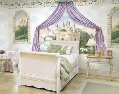 I think this is a beautiful princess room. I would have loved this when I was younger and I would definately use this idea for my children someday.