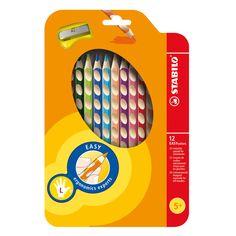 STABILO EASYcolors Linkshandig - Etui 12st. + Puntenslijper Lijndikte: 4,2mm12 linkshandige potloden inclusief een puntenslijper - STABILO EASYcolors Linkshandig - Etui 12st. + Puntenslijper