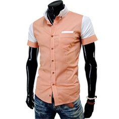 (CE03-ORANGE) Mens Casual 2 Tone Pin Stripe Short Sleeve Slim Fit Shirts $27.993