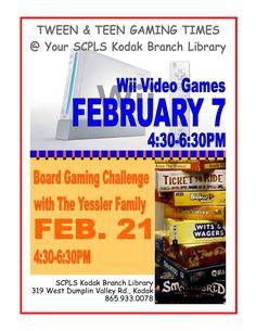 Gaming Programs - February - Kodak Branch Library