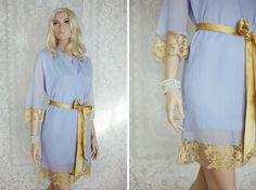 One custom elegant lace trimmed chiffon robe. Bridal lace robe. Periwinkle  blue robe. Bridal lingerie. Long bridal robe 54ab0e37c