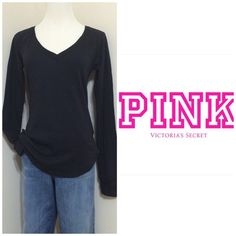 Victoria's Secret PINK, Vneck lounge tee. Victoria's Secret PINK, black V neck long sleeve lounge/ sleepwear tee, size M, brand new. Super comfy! Discounts on bundles! NO TRADES. No PayPal . No holds! Thanks Victoria's Secret Tops Tees - Long Sleeve