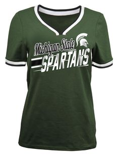 NCAA Women's V-Neck T-Shirt - Michigan State Spartans, Green