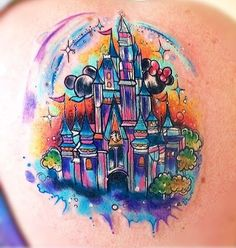 5. Cinderella castle makes a splash in this bright tattoo. (Photo credit: inkprofy.com)