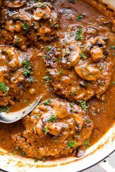 Easy Salisbury Steak Recipe with Mushroom Gravy | Diethood Salisbury Steak With Mushroom Gravy Recipe, Homemade Salisbury Steak, Beef With Mushroom, Salisbury Steak Recipes, Steak And Mushrooms, Stuffed Mushrooms, Easy Steak Recipes, Beef Recipes