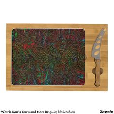 Whirls Swirls Curls and More Bright Color Edit Rectangular Cheese Board