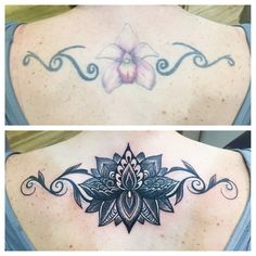 Before and after lower back lotus cover up tattoo sneak peeks mandala style lotus cover up original artwork and tattoo done by gina malloy at malloy mightylinksfo