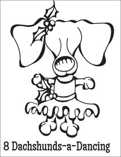 free coloring page download 8 dachshunds a dancing from the twelve dogs of