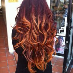 Ugly color, beautiful curls and hair! Hate the ombré hair! Auburn Ombre Hair, Brown Ombre Hair, Auburn Balayage, Auburn Red, Balayage Hair, Light Auburn, Red To Blonde Ombre, Bayalage Red, Blonde Color