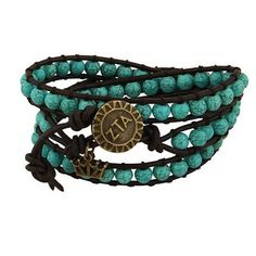 """Zeta Tau Alpha 24inch length. Natural stones with antique brass charms. Round charm measures .6875"""" . Mascot charm measures approx. .5"""" x .4375"""" Zeta Tau Alpha Jewelry makes great Zeta Tau Alpha Gifts"""