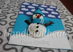 Paper quilling christmas card, christmas Snowman