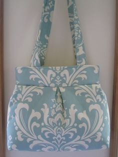 Shoulder Pleated Handbag Purse Ipad Netbook Tote Damask in Robin blue and off white Made in USA - pinned by pin4etsy.com