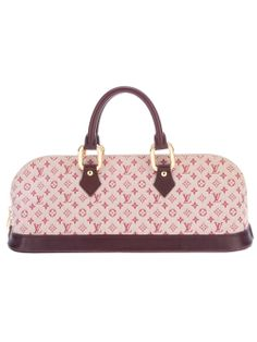 "Louis Vuitton vintage ""Idylle"" monogram tote from A.N.G.E.L.O. Pink cotton tote from Louis Vuitton featuring a rectangular shape, a top zip fastening, two curved leather top handles with gold-tone hardware, a reinforced leather base, an interior zip fastening pocket and fully lined in nude fabric."