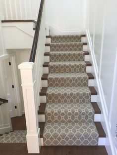 Hemphill's Rugs & Carpets fabricated this stair runner using New Zealand wool carpet from Stanton.  Finished serged edges.