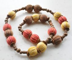 """Multicolor yarn wrapped beads and wood beads necklace """"jennysunny"""" on Etsy"""