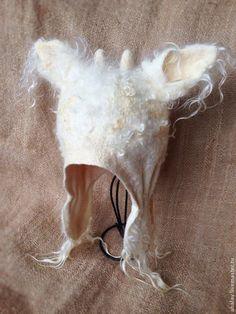 """Шапки ручной работы. Шапка валяная с ушами белая  """"Год козы"""". Алла Халайджи (Ahalay). Ярмарка Мастеров. Оригинальная шапка"""
