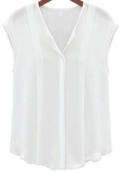 White V Neck Sleeveless Chiffon Blouse - Sheinside.com