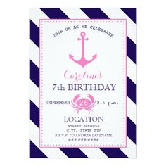 Girl's Nautical Birthday Party - Anchor   Crab 5x7 Paper Invitation Card