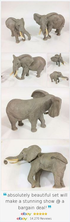 So realistic youd think they were made of leather instead of fine porcelain! Lenox #AfricanElephant Figurine 1994 Vtg Set 2 Fine Porcelain Tusks Detail Exc