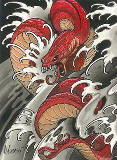 Schlange - Tattoo - - # - Most creative tattoo list Japanese Snake Tattoo, Japanese Sleeve Tattoos, Snake Drawing, Snake Art, Kunst Tattoos, Irezumi Tattoos, Diy Tattoo, Wrist Tattoo, Chinese Tattoo Designs