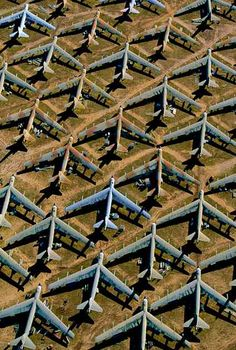 Aircraft Graveyard --- B-52 at Davis-Monthan Air Force Base near Tucson, Arizona, United States (N 32°11' W 110°53') Hundreds of B52 Stratofortress bombers are stored at Davis–Monthan Air Force Base in the Arizona desert. These planes, whose flying days are probably over, are nevertheless preserved for spare parts.