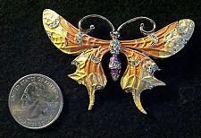 Gold Enamel Two-toned Butterfly Pin Broach