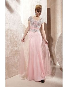 TENCEL V-NECK RUCHING EMBROIDERY A-LINE NATURAL PROM DRESS