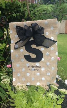Monogrammed Burlap Garden Flag by TaxiFactory on Etsy, $25.00