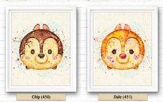 Watercolor Disney, Chipmunks Dale Watercolor Painting, Tsum Tsum Print, Burlap…
