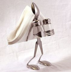 another silverware craft-shakers in the front, napkins in the back by Nurse Bett. another silverware craft-shakers in the front, napkins in the back by Nurse Betty Metal Projects, Welding Projects, Metal Crafts, Welding Crafts, Fork Art, Spoon Art, Home Crafts, Arts And Crafts, Art Crafts