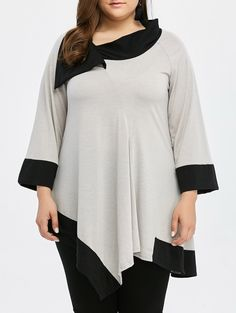 This is a Jackie O tunic, don't you think? Sleeve and collar color blocks and asymmetrical hem deeply flattering for apple shapes. Cheap Tank Tops, Plus Size T Shirts, Collar Styles, Lace Tops, Beautiful Outfits, Beautiful Clothes, Plus Size Fashion, Fashion Outfits, Fashion Clothes