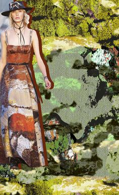 RESORT 2018 - Dior #dior #tekdesen #design #studio #newcamo #forest #textile #print #printdesign #hulyayalcin #bursa #turkey #khaki #color #green #resort #2018 #trend #board #mood #designer #team #camouflage #fashion #model #idea #artwork #style